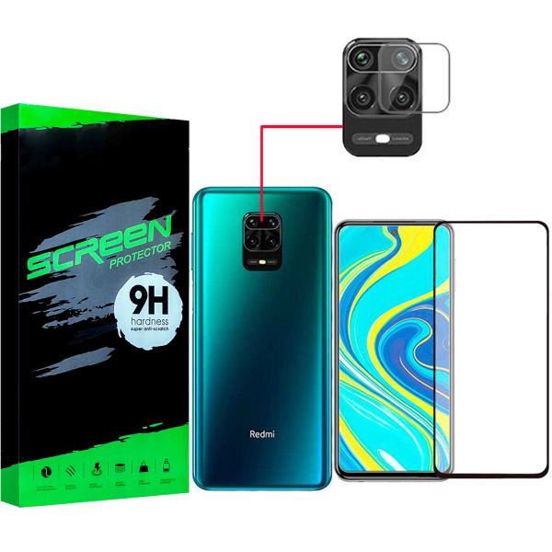 محافظ صفحه نمايش مدل JC-08 مناسب برای گوشی موبایل شیائومی Redmi Note 9S/9 pro/9/9 pro max به همراه محافظ لنز