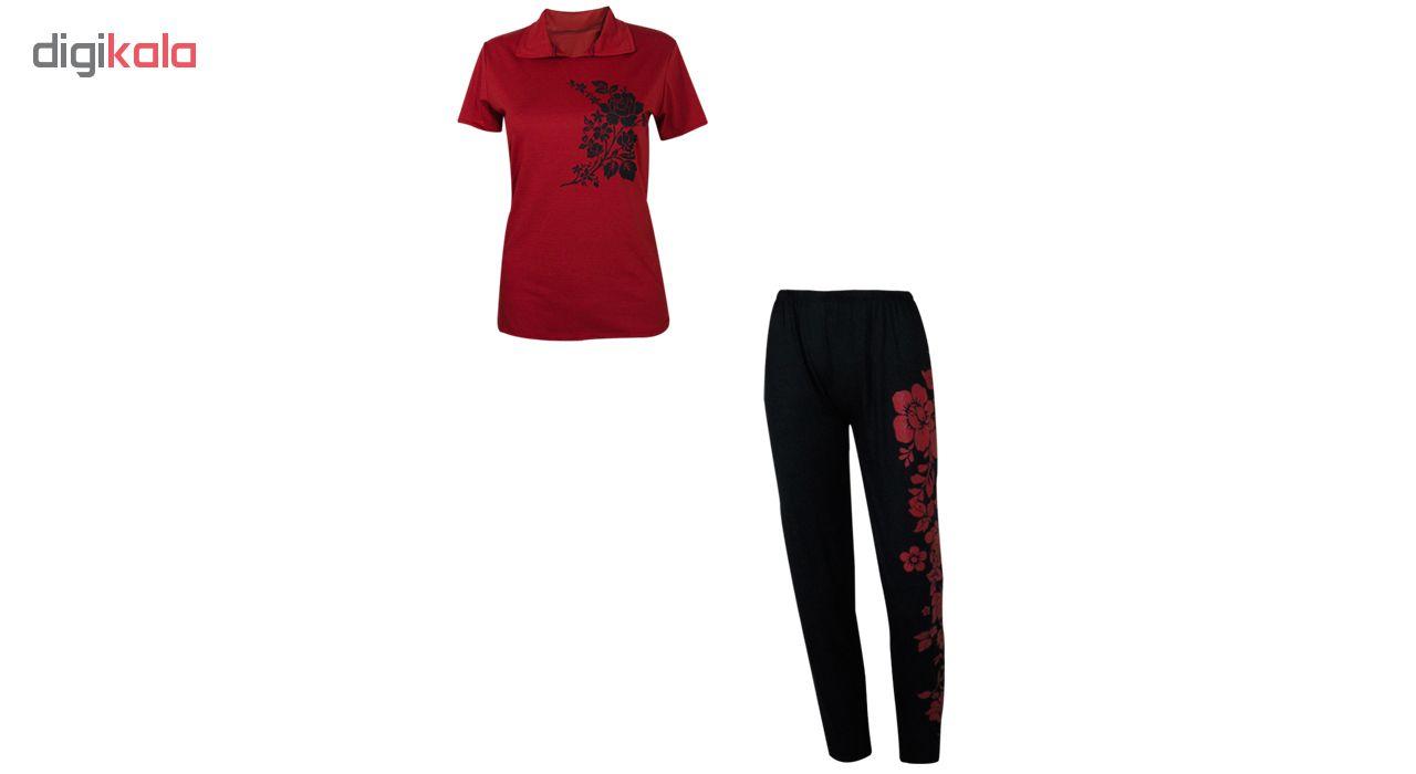 خرید                                      ست تی شرت و شلوار زنانه مدل Branch رنگ قرمز