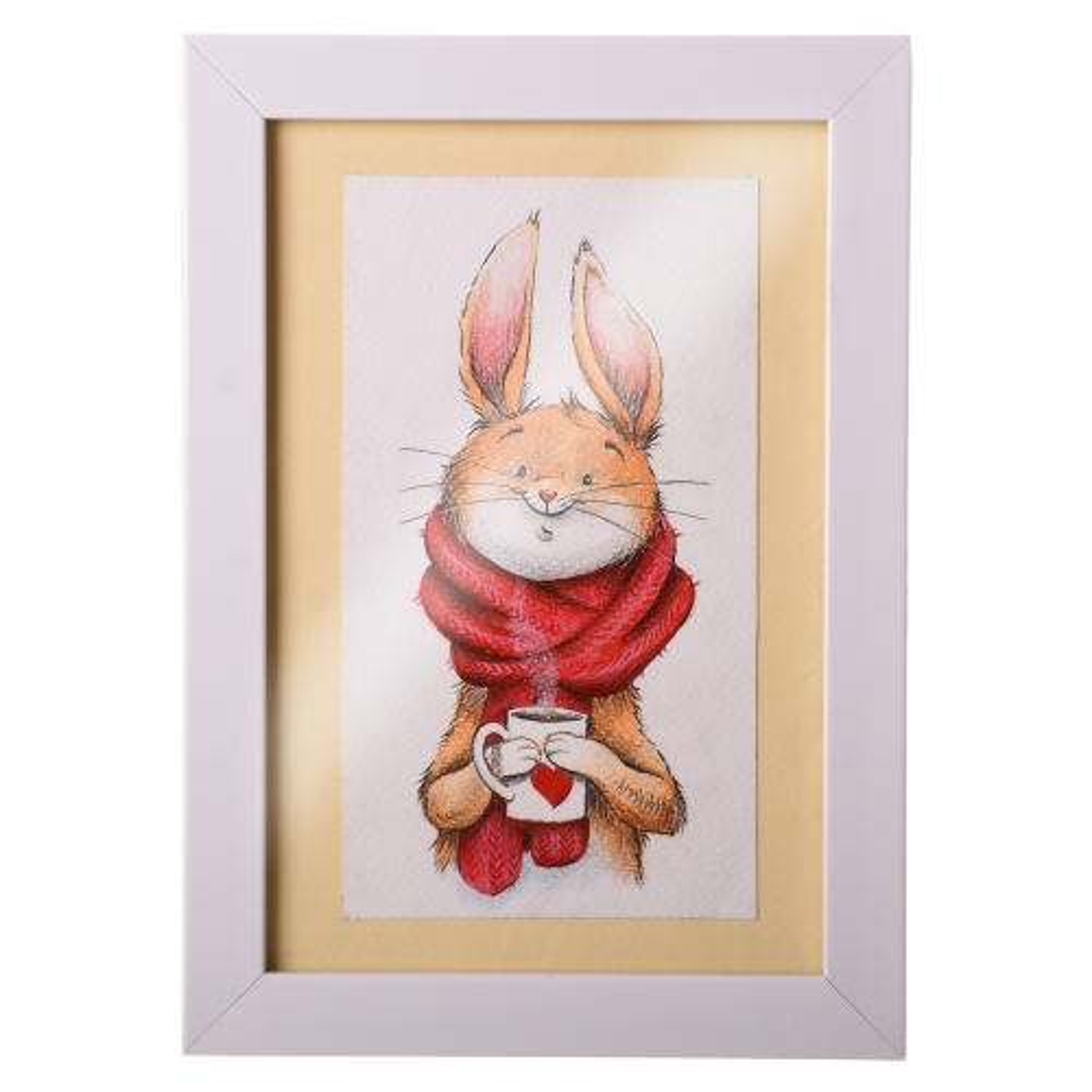 تابلو نقاشی مدادرنگی طرح خرگوش مدل 00-01
