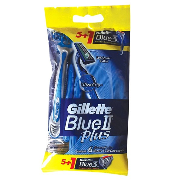 خود تراش ژیلت 5 عددی مدل Blue 2 Plus به همراه یک عدد Blue 3