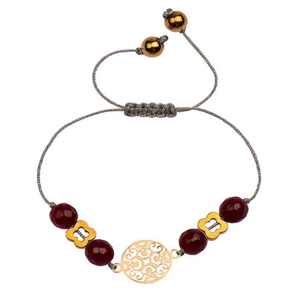 دستبند طلا 18 عیار دخترانه کرابو طرح دایره ی اسلیمی مدل Krd1034