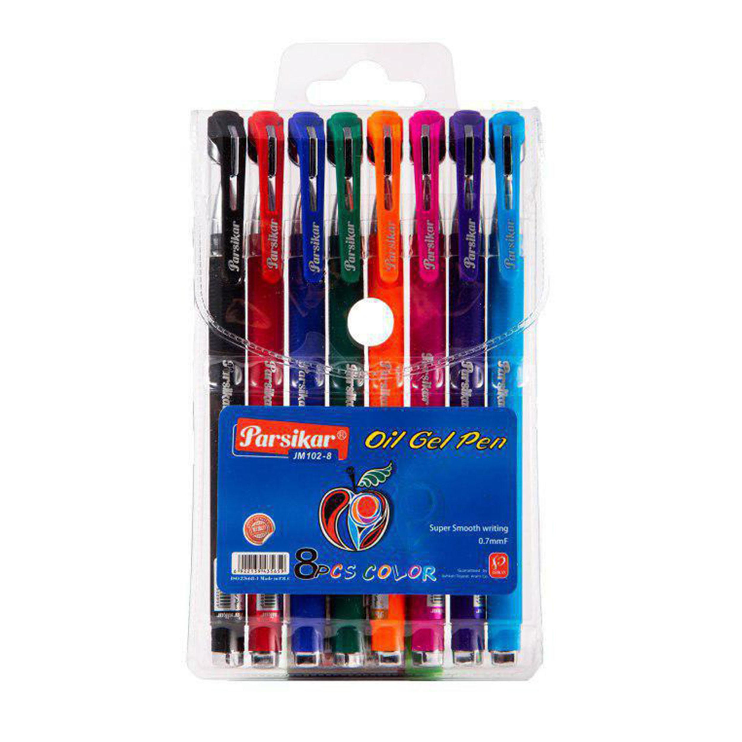 خودکار رنگی پارسی کار کد JM-102-8 بسته  8 عددی