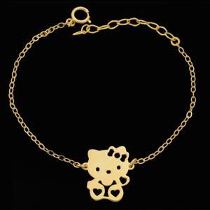 دستبند طلا 18 عیار دخترانه طلای مستجابی کد 67064