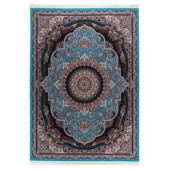فرش  ماشینی دنیای فرش طرح پرهام زمینه آبی |