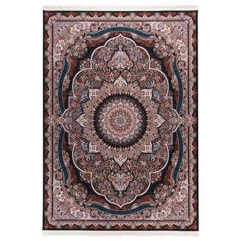 فرش  ماشینی دنیای فرش طرح پرهام رنگ زمینه سورمه ای |