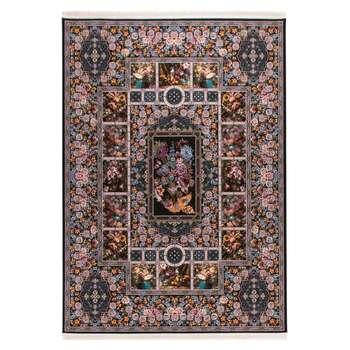 فرش  ماشینی دنیای فرش طرح باغ ارم رنگ زمینه سورمه ای |