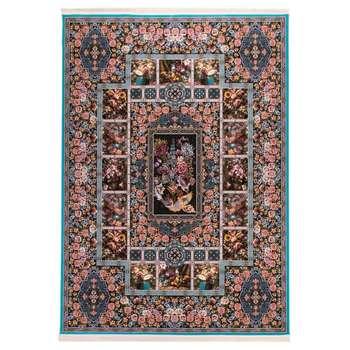 فرش  ماشینی دنیای فرش طرح باغ ارم رنگ زمینه آبی |