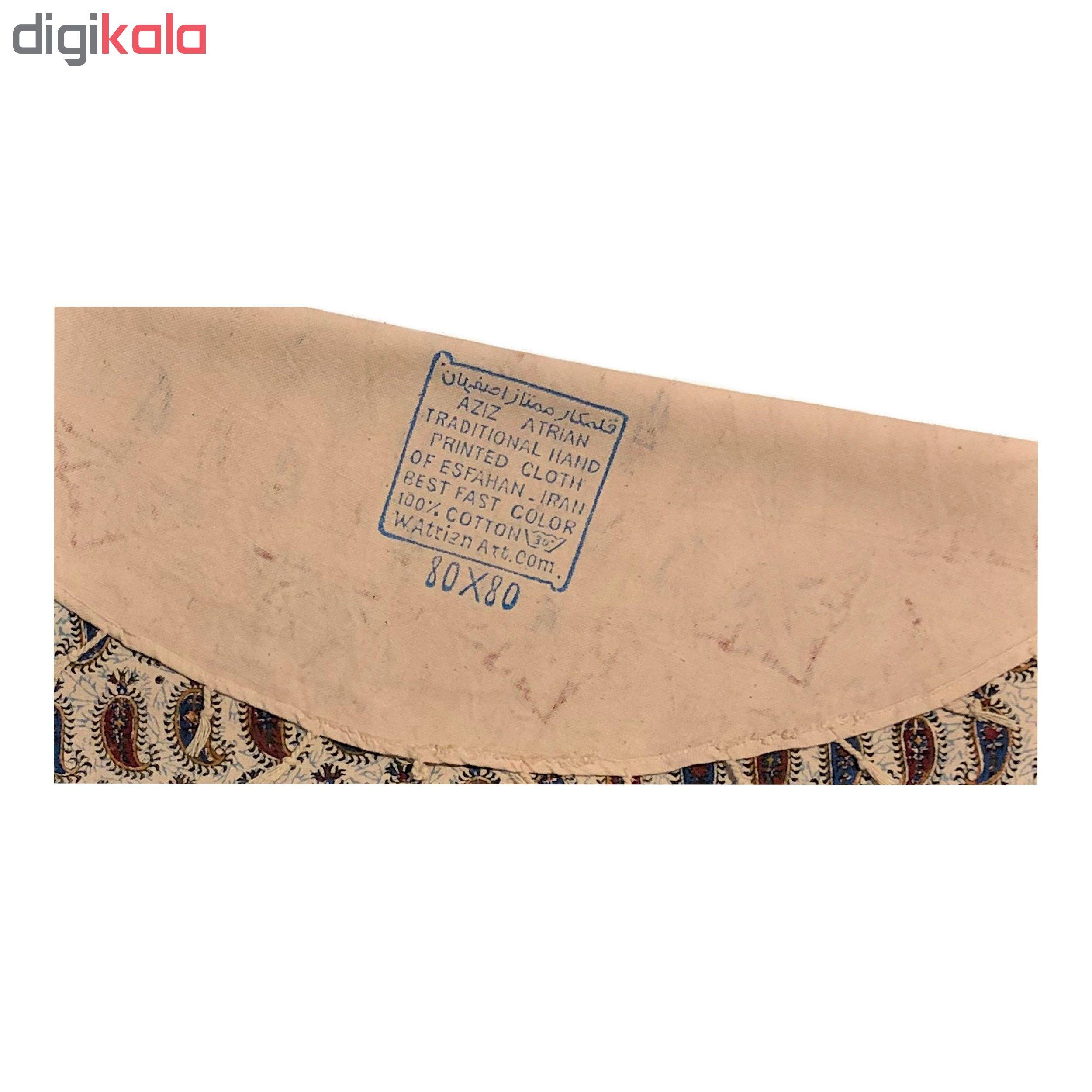 خرید                      رومیزی قلمکار ممتاز اصفهان اثر عطريان طرح شش بته قاجار مدل G74سایز 80 × 80 سانتی متر