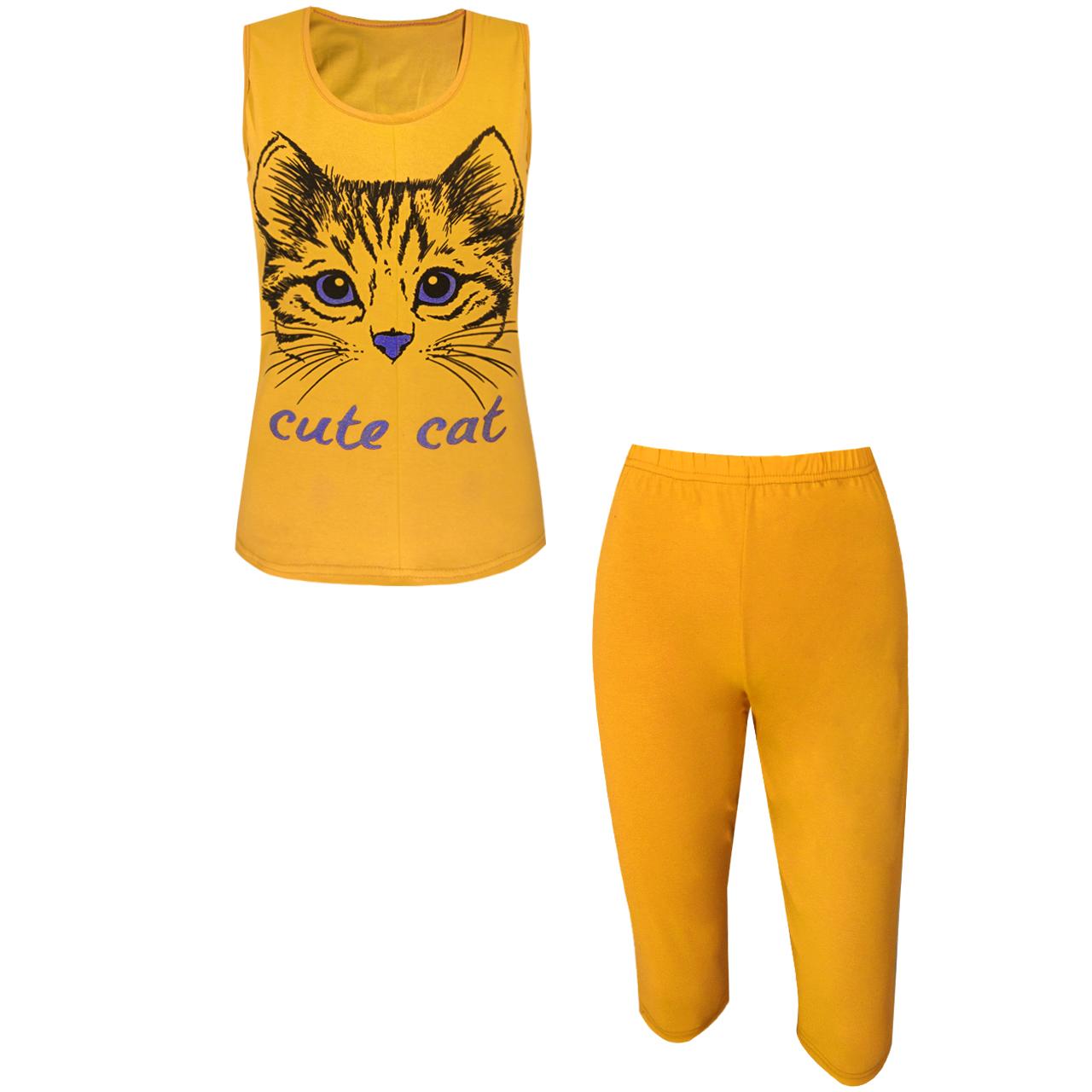 خرید                                      ست تاپ و شلوارک زنانه مدل Cute Cat رنگ زرد خردلی