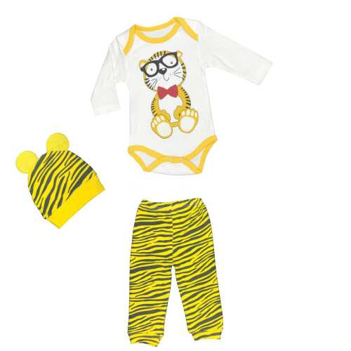ست 3 تکه لباس نوزادی طرح ببر کوچولو کد 1212