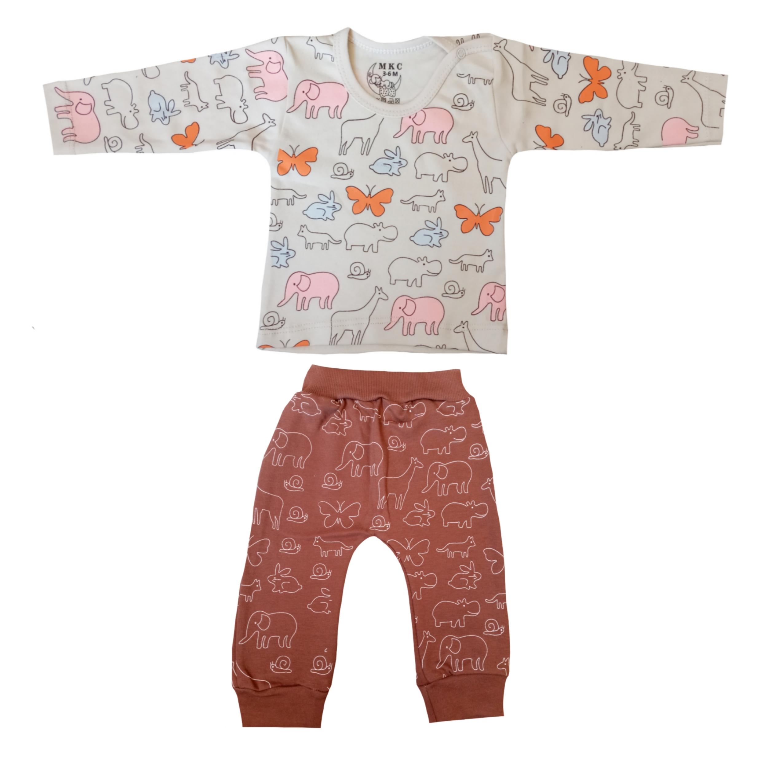ست تی شرت و شلوار نوزادی کد 409