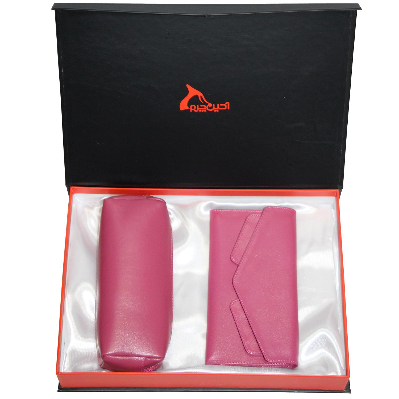 ست هدیه زنانه چرم طبیعی آدین چرم مدل DS46.S