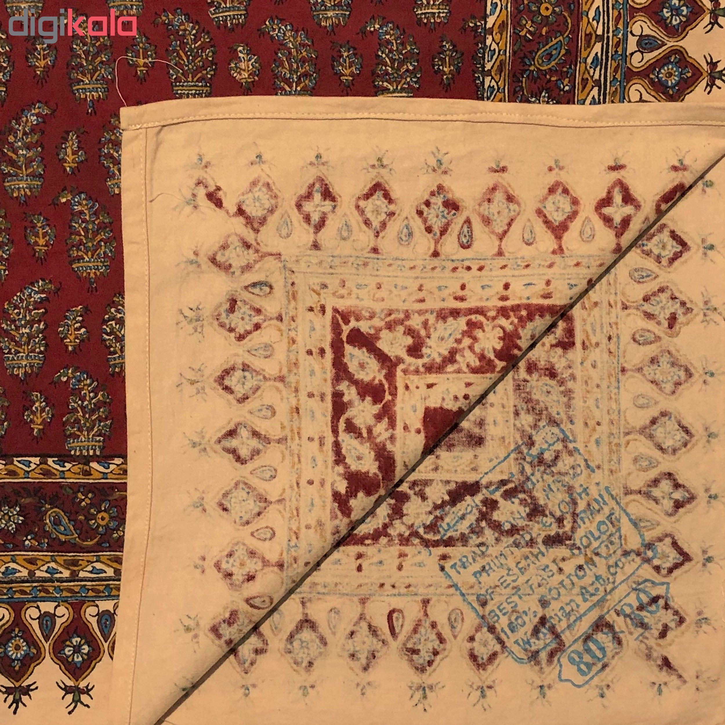 خرید                      رومیزی قلمکار ممتاز اصفهان اثر عطريان طرح بته قرمزچلوار مدل G73سایز 80*80 سانتی متر