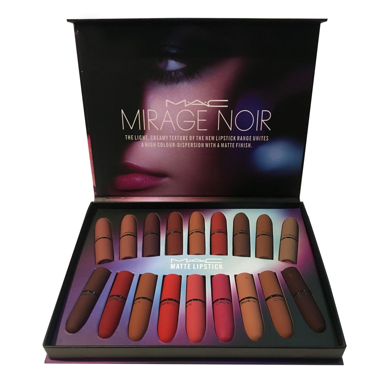 رژ لب مک مدل Mirage Noir مجموعه 18 عددی