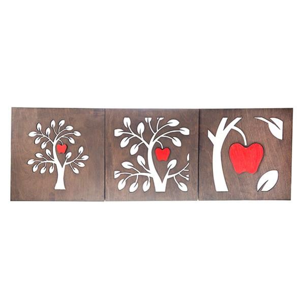 تابلو چوبی گالری اگزیس طرح درخت سیب - سه تکه