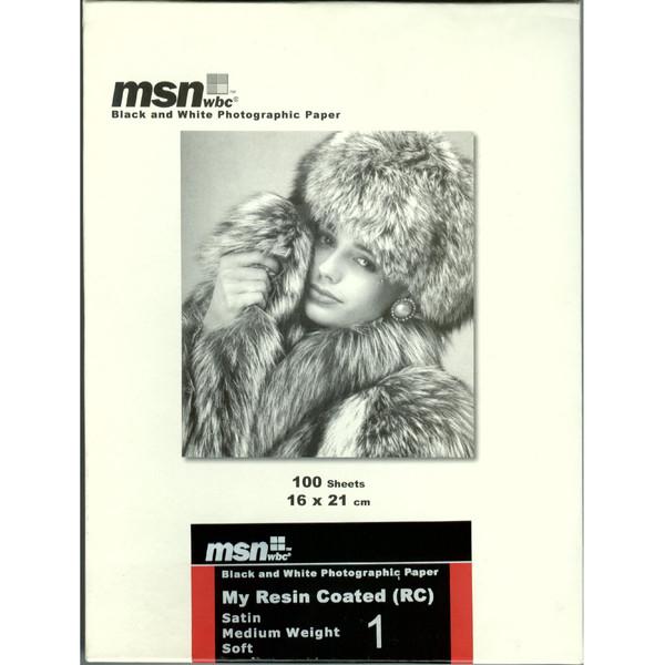 کاغذ عکاسی سیاه و سفید ساتن ام اس ان دبلیو بی سی مدل RC سایز ۲۱×۱۶ بسته ۱۰۰ عددی