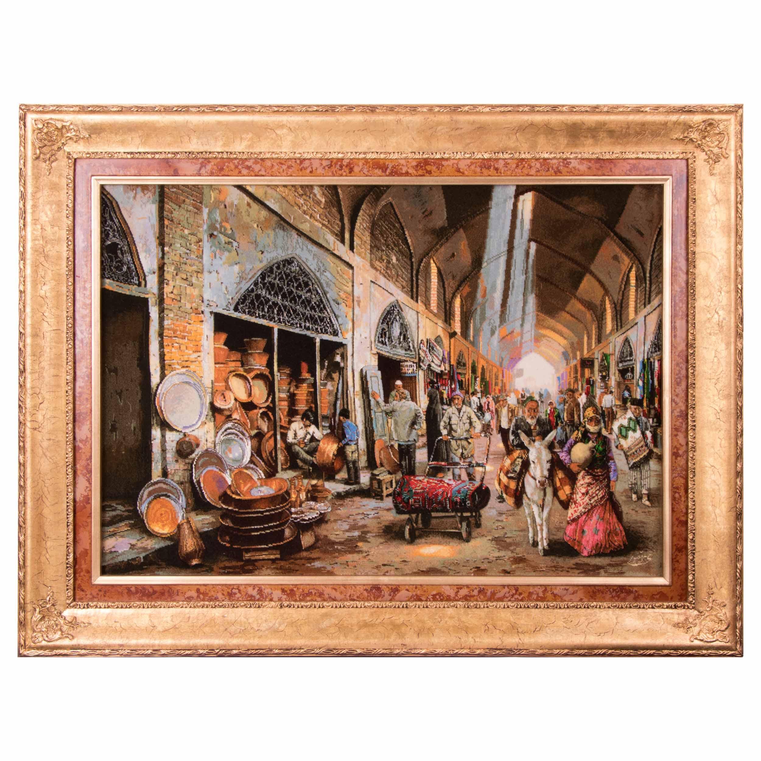 تابلو فرش دستباف بازار مسگرها برجسته سی پرشیا کد 901573