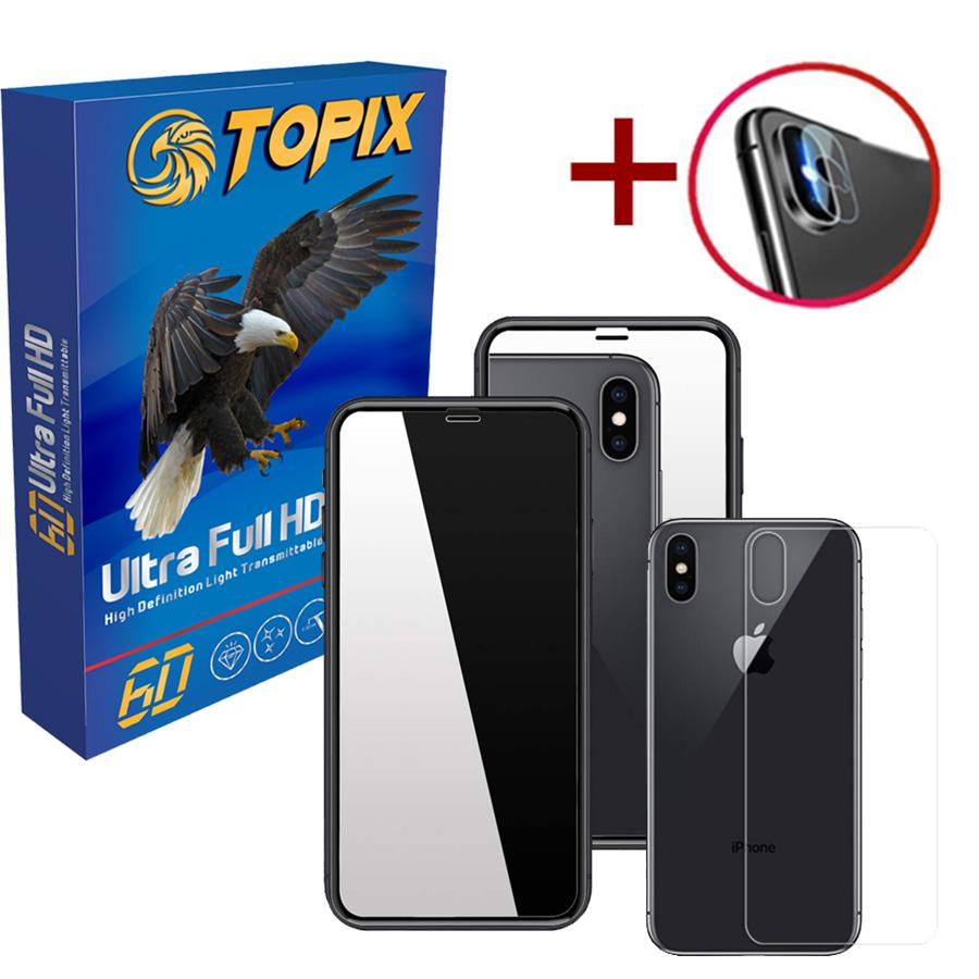 محافظ صفحه نمایش تاپیکس مدل آینه ای مناسب برای گوشی اپل iphone XS / X به همراه محافظ لنز دوربین