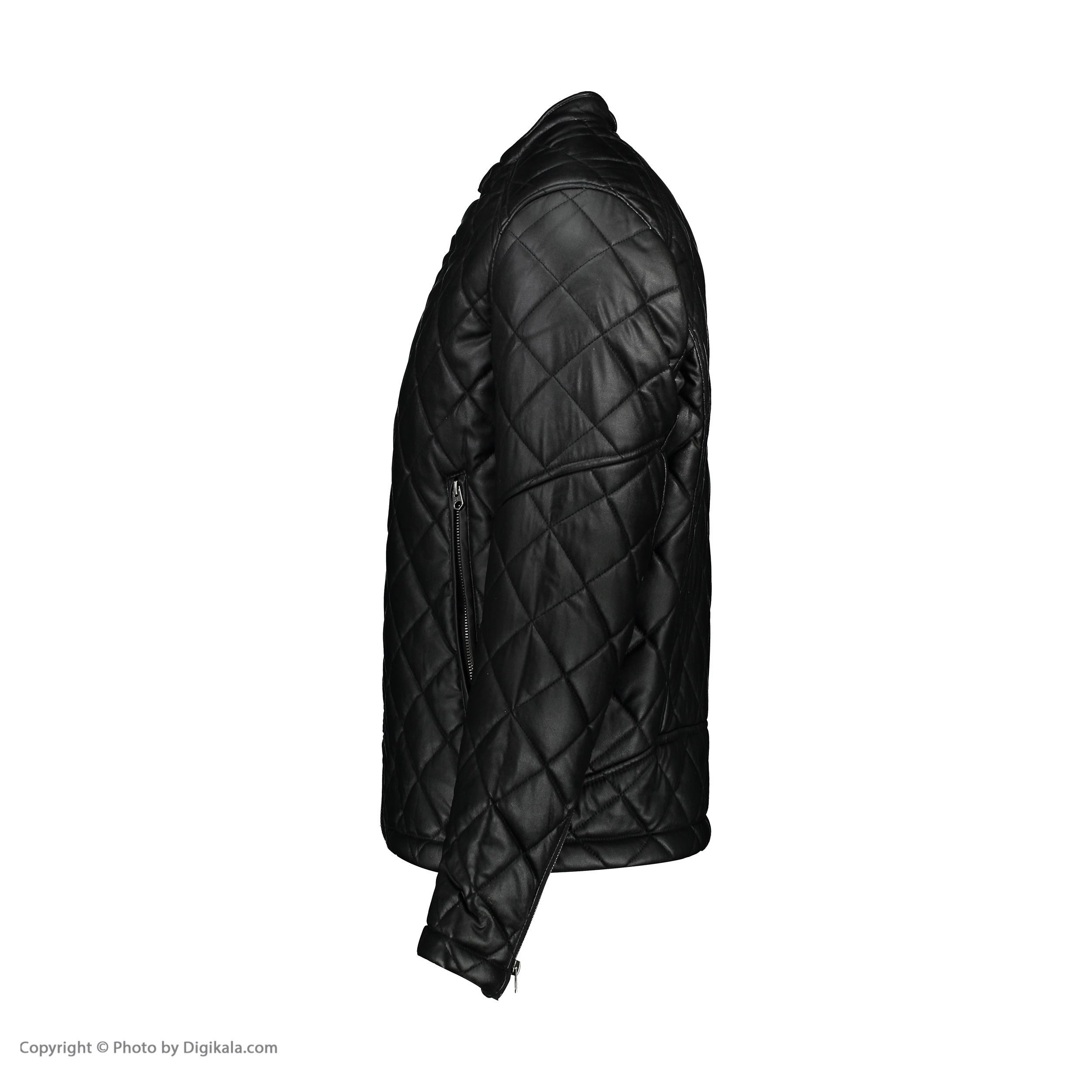 خرید                                     کت چرم مردانه کالینز مدل CL1034804-BLK