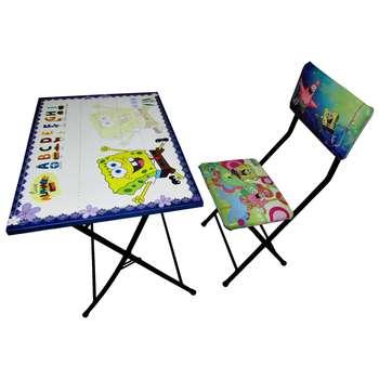 میز تحریر و صندلی طرح باب اسفنجی (وایت بردی،تاشو،تنظیم شونده ارتفاع)