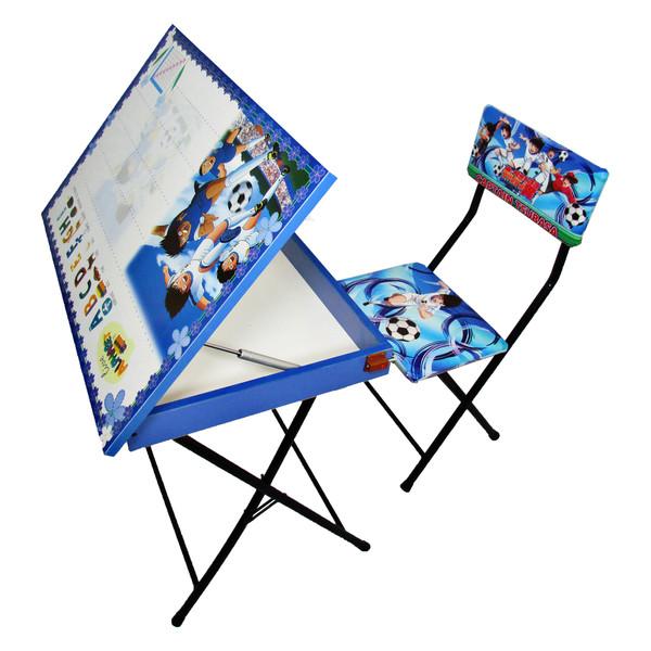 میز تحریر باکسدار و صندلی طرح فوتبالیستها (وایت بردی،تاشو،تنظیم شونده ارتفاع)