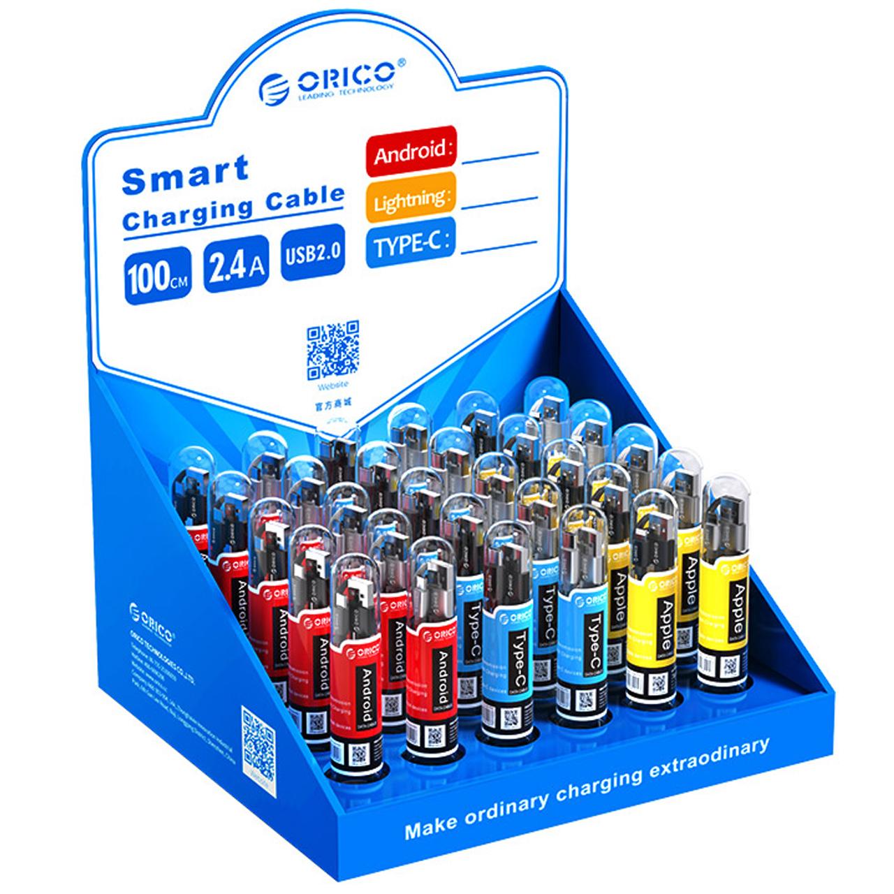 کابل تبدیل USB به microUSB  و USB-C و لایتنینگ اوریکو مدل SGX-NL-30 بسته 30 عددی