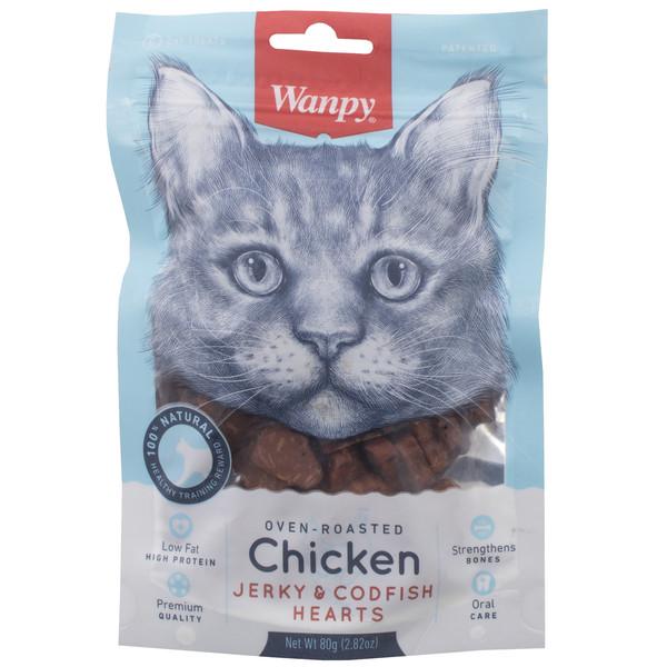 غذای گربه ون پی مدل  CHICKEN JERKY CODFISH HEARTSوزن 80 گرم