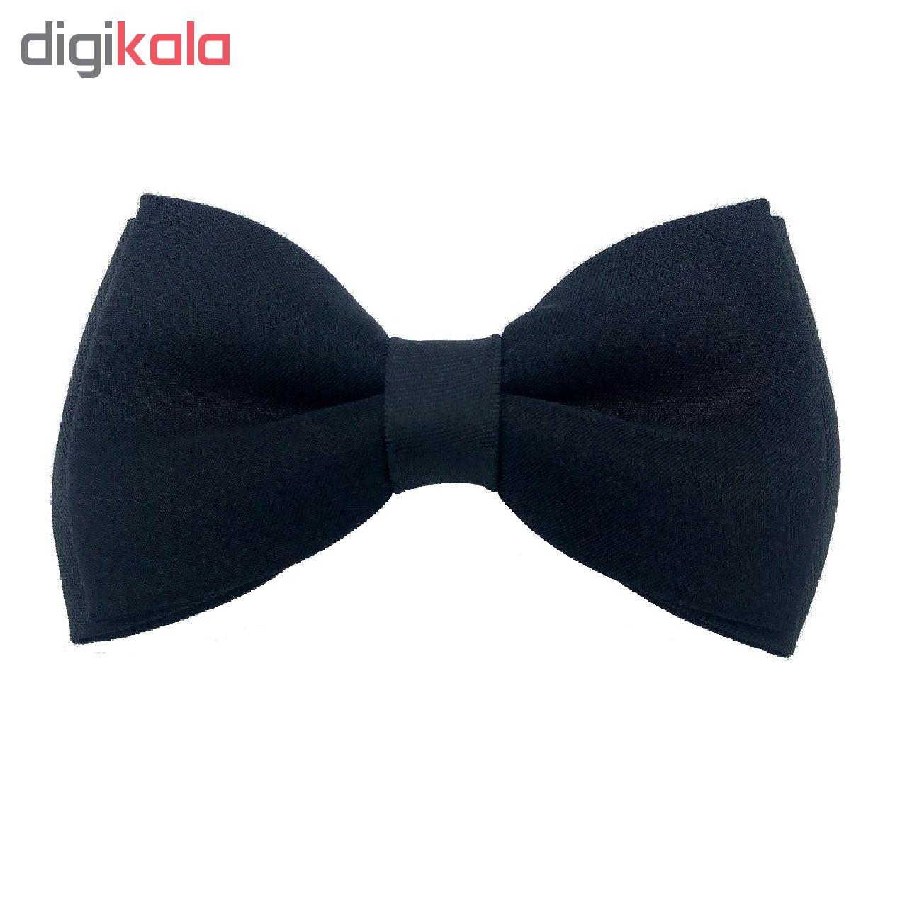 ست کراوات پاپیون و  دستمال جیب هکس ایران مدل SET-SM BLK