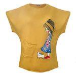 تی شرت زنانه افراتین کد 3528 رنگ خردلی