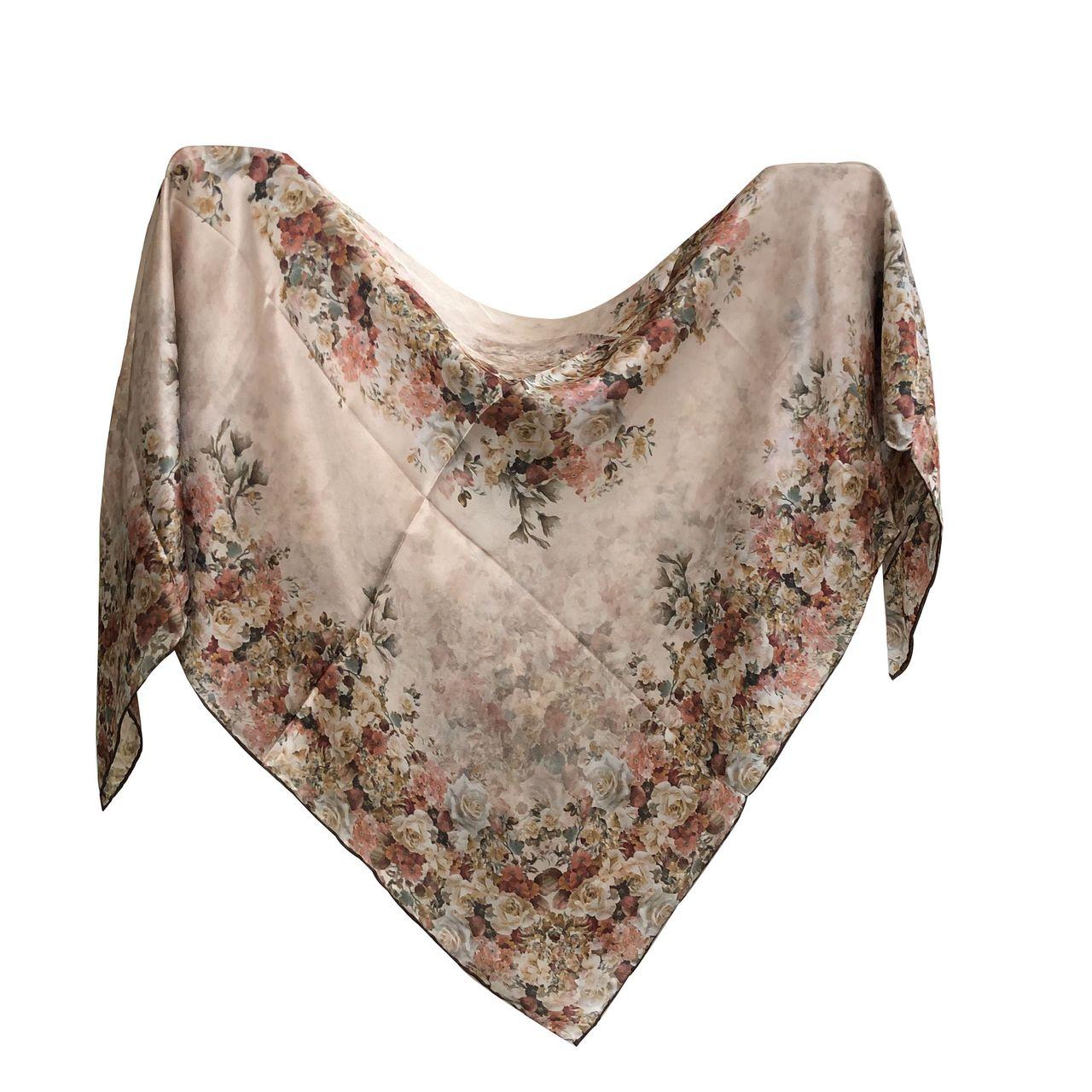 روسری زنانه  ابریشم مامی دست دوز میس رسپینا مدل 10