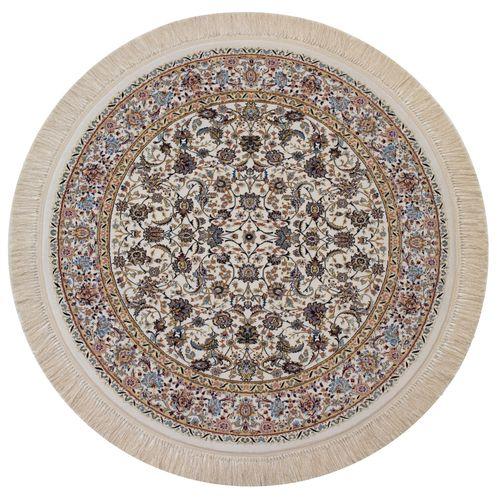 فرش ماشینی فرش رادین طرح گرد نائین شاه عباسی زمینه صدفی