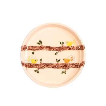 بشقاب سفالی آرانیک مدل نقاشی زیر لعابیطرح نغمه بهاریکد1000200020 رنگ سفید