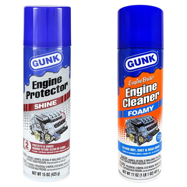 مجموعه اسپری تمیز کننده و براق کننده موتور خودرو گانک مدل Engine Cleaner