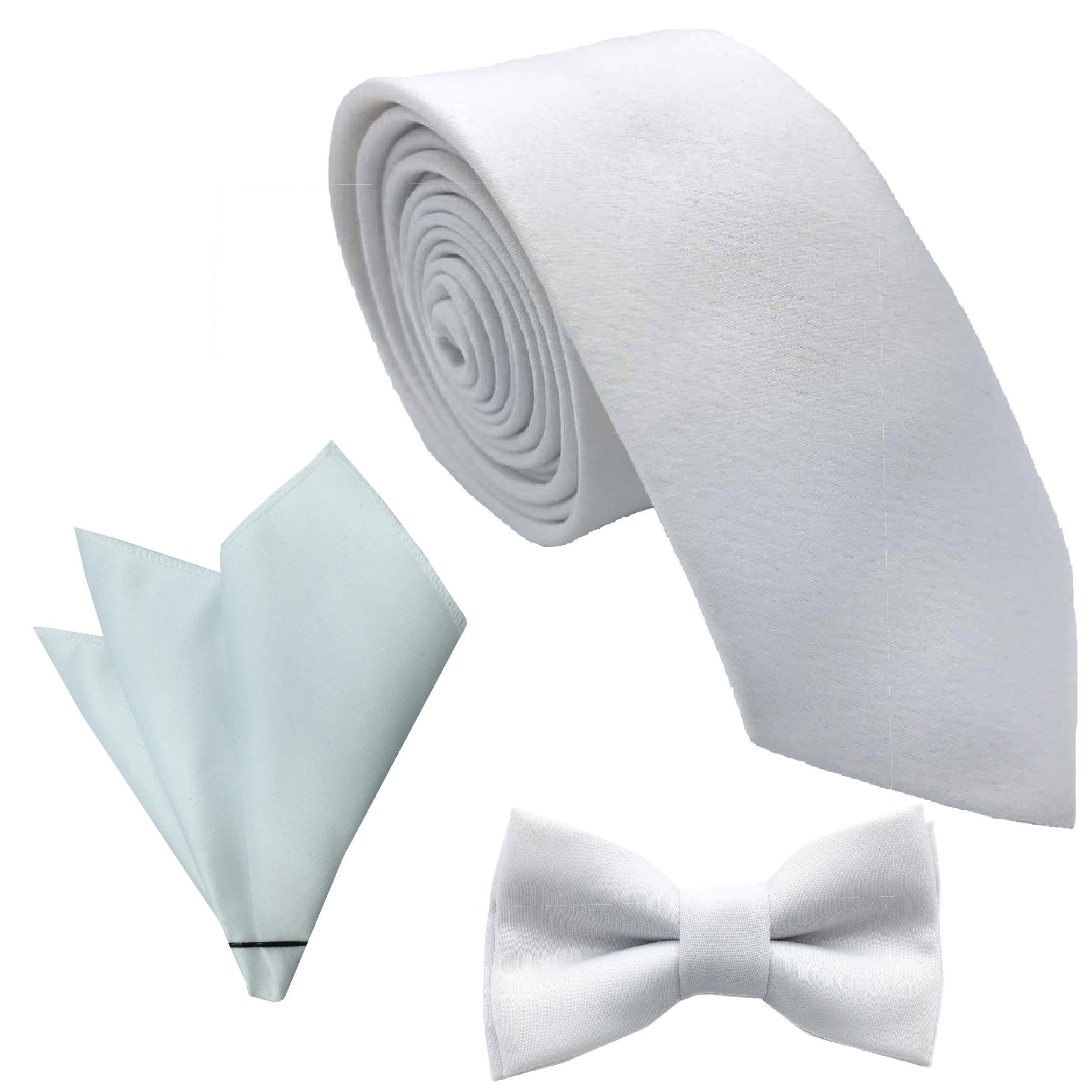 ست کراوات پاپیون و دستمال جیب هکس ایران مدل SET-SM WIT