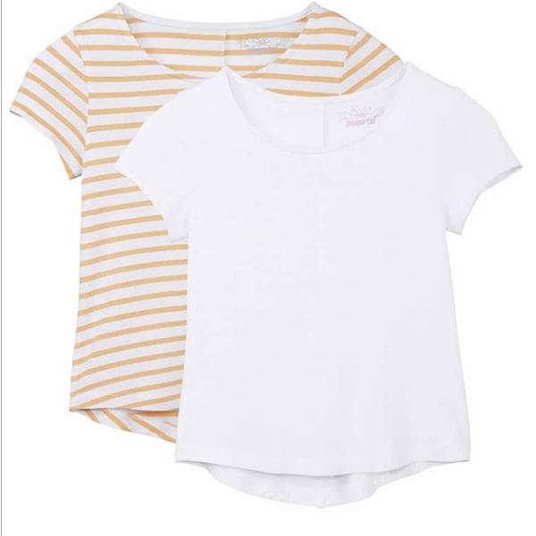 تی شرت آستین کوتاه دخترانه پیپرتس مدل 001 مجموعه 2 عددی