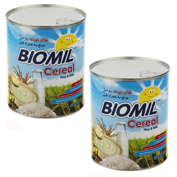 غذای کودک سرآل برنج به همراه شیر بیومیل 800 گرم بسته 2 عددی