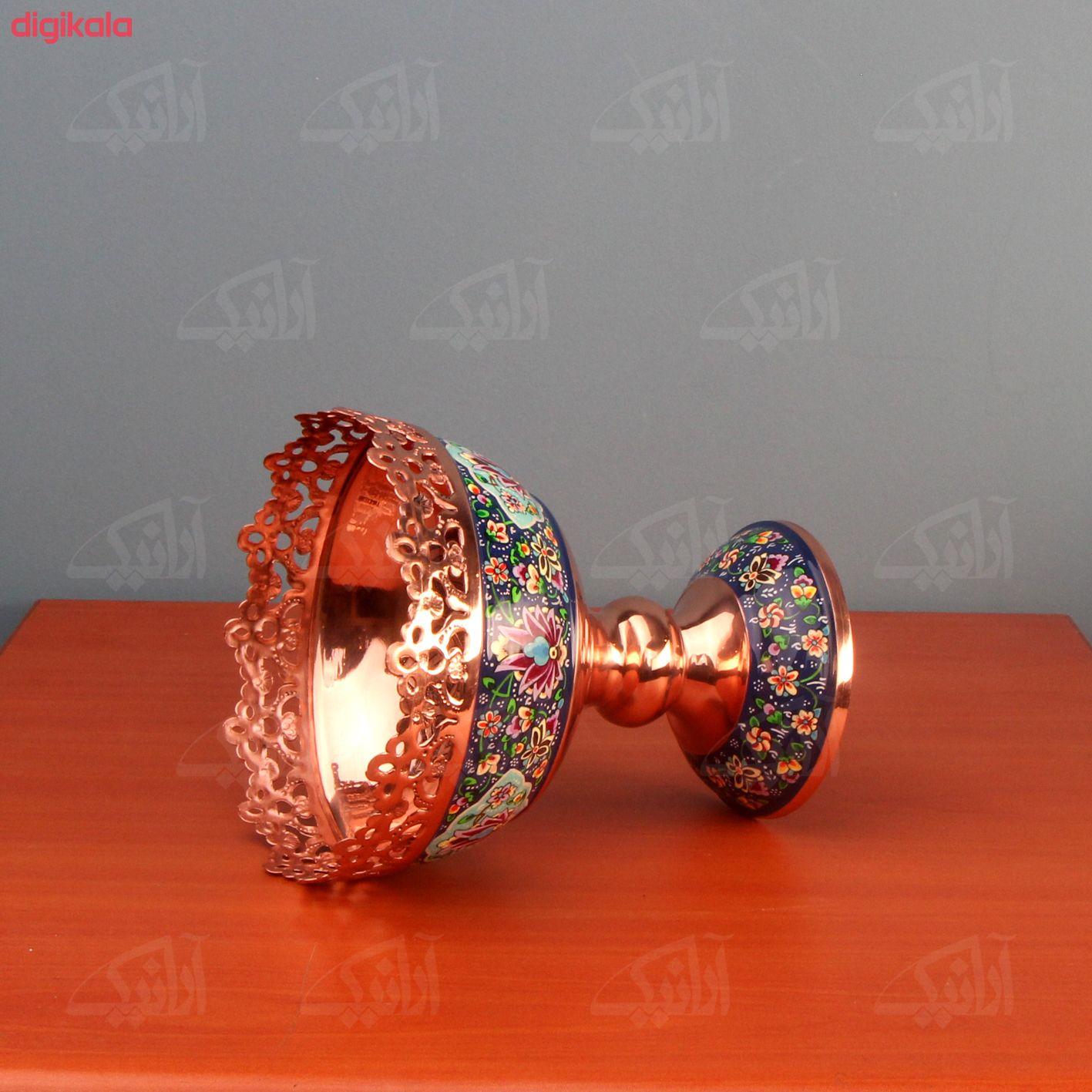 کاسه پایه دار مس و پرداز رنگ سورمه ای طرح مشبک و قلمزنی مدل 1003900013 main 1 1