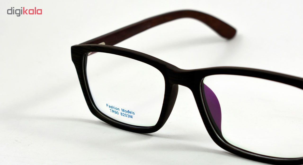 فریم عینک طبی مدل Tr90 Sharp Black Wooden Series