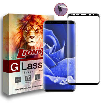 محافظ صفحه نمایش 6D Dual لایونکس مدل USS مناسب برای گوشی موبایل سامسونگ Galaxy S9 به همراه محافظ لنز دوربین