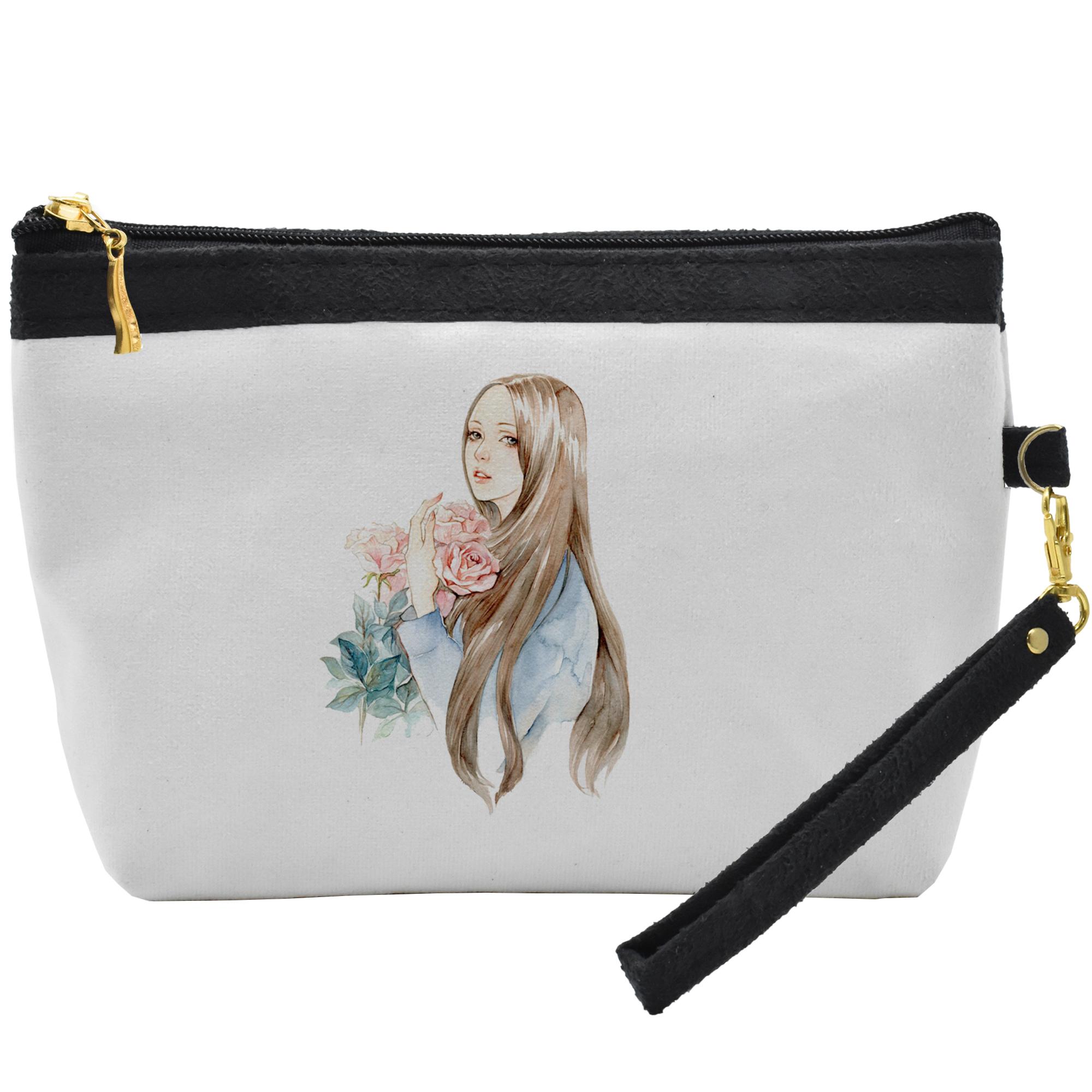 کیف لوازم آرایشی طرح دختر مو طلایی کد C08