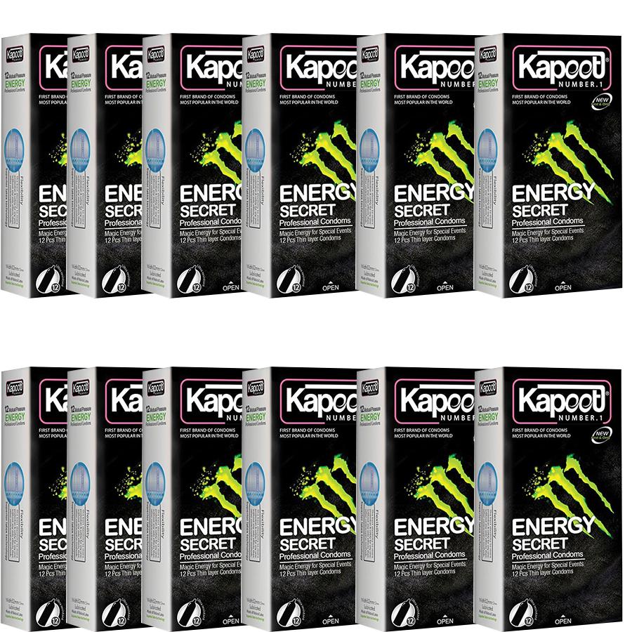 کاندوم کاپوت مدل ENERGY SECRET مجموعه 12 عددی