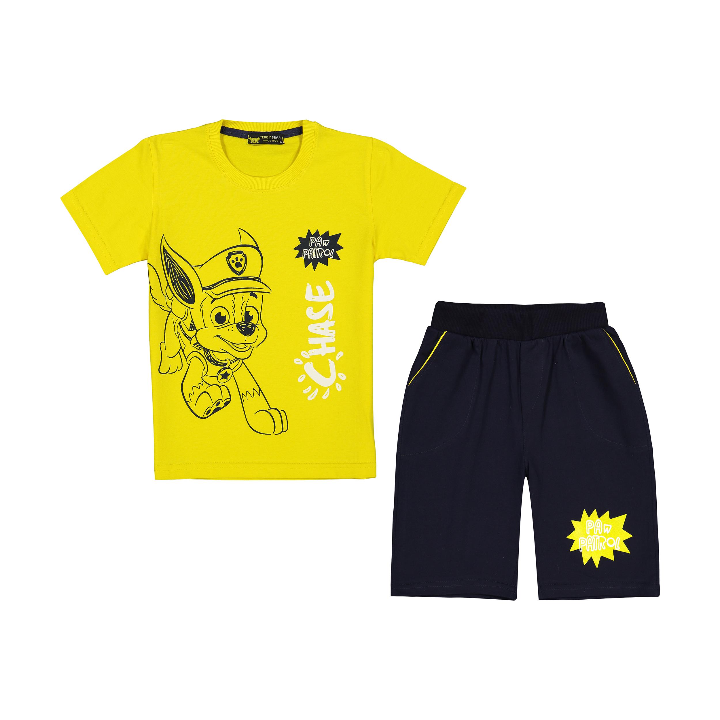 ست تی شرت و شلوارک پسرانه خرس کوچولو مدل 2011211-16