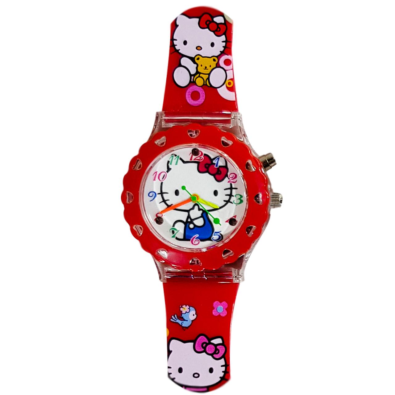 ساعت مچی عقربه ای بچه گانه مدل 01-Kitty رنگ قرمز