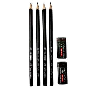 مداد مشکی فابر-کاستل مدل 1111_M  به همراه پاک کن فابر-کاستل مدل 1112_P بسته 6 عددی