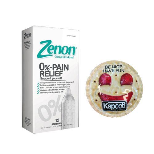 کاندوم زنون مدل PAIN RELIEF بسته 12 عددی به همراه کاندوم کاپوت