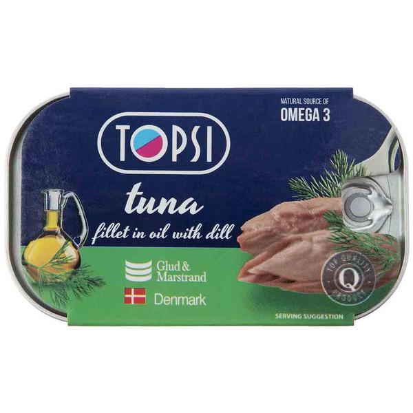 کنسرو ماهی فیله تن در روغن گیاهی و شوید تاپسی -120 گرم