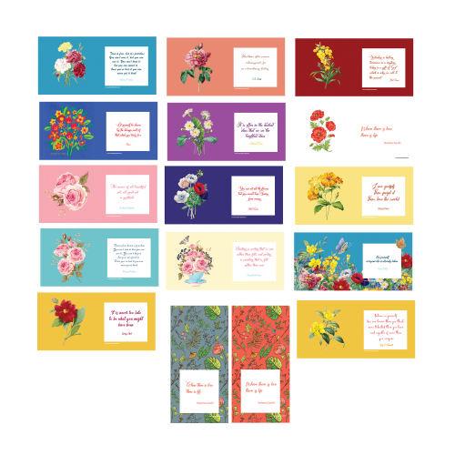 کارت تبریک ستوده طرح گلها کد CFB19 بسته 16 عددی