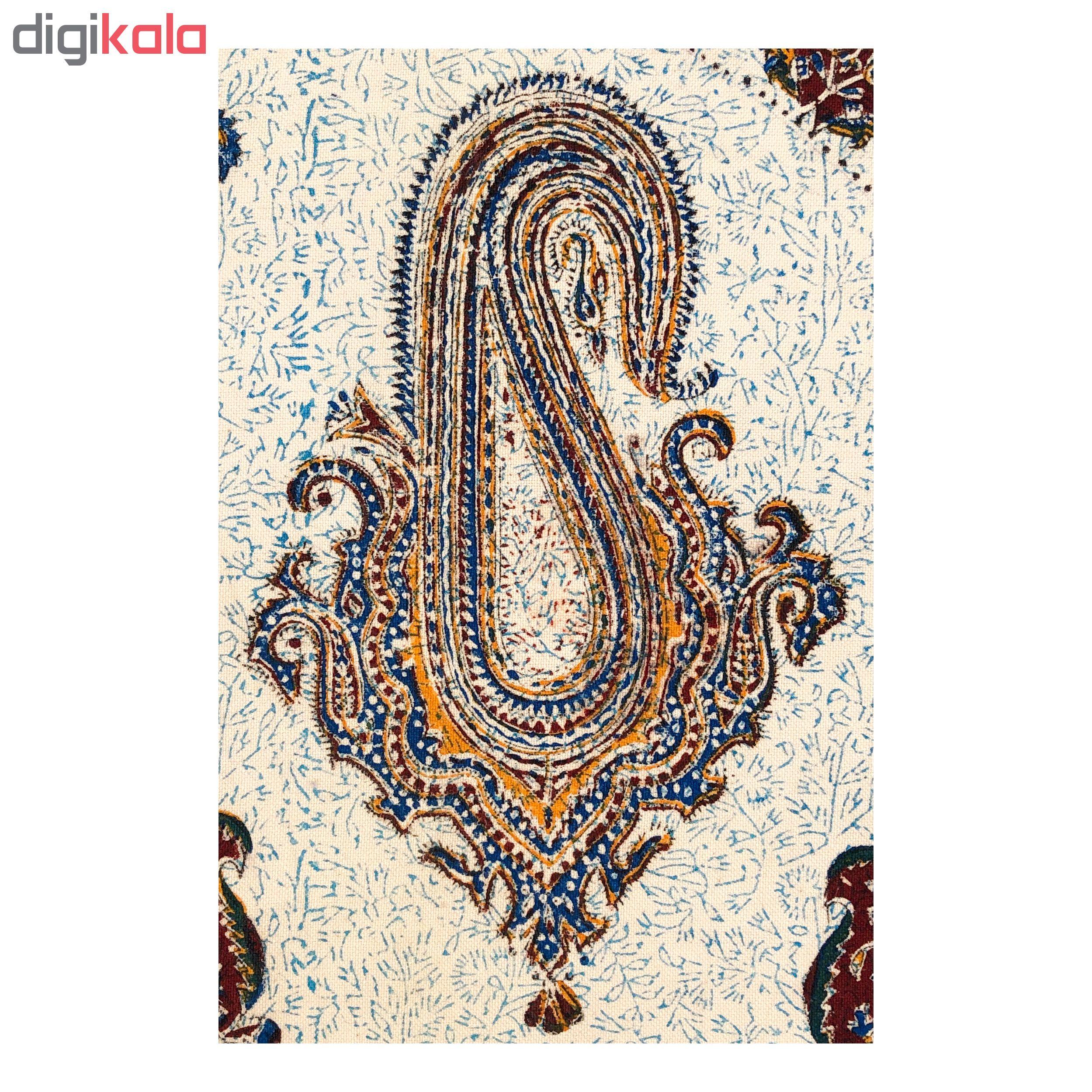 رومیزی بيضي قلمکار ممتاز اصفهان اثر عطريان طرح ترنج نيايش مدلG66 سایز 180*280 سانتی متر