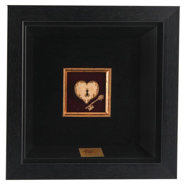 تابلو ورق طلا 24 عیار الون طرح قلب و کلید 198377