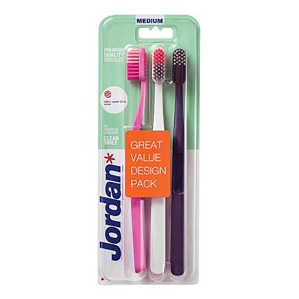 مسواک جردن مدل Clean Smile با برس متوسط بسته 3 عددی